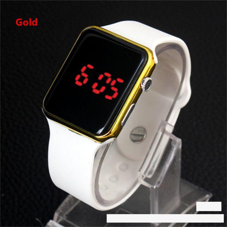 Sıcak Kare Ayna Yüz Silikon Band Dijital İzle Kırmızı LED Saatler Metal çerçeve Kol Saati Spor Saat saatleri dijital izle