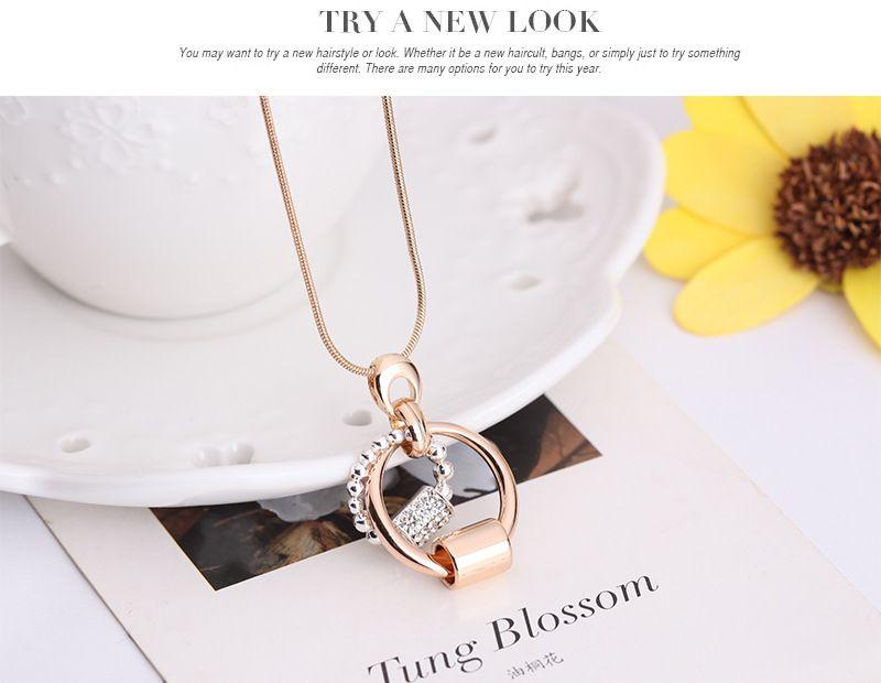 Neueste einfache Kristallhalsketten-Ohrringe stellten Art- und Weisefrauen-Zusatz 18kgp runde Schmuck-Sets 2 Farben / 61152069 ein