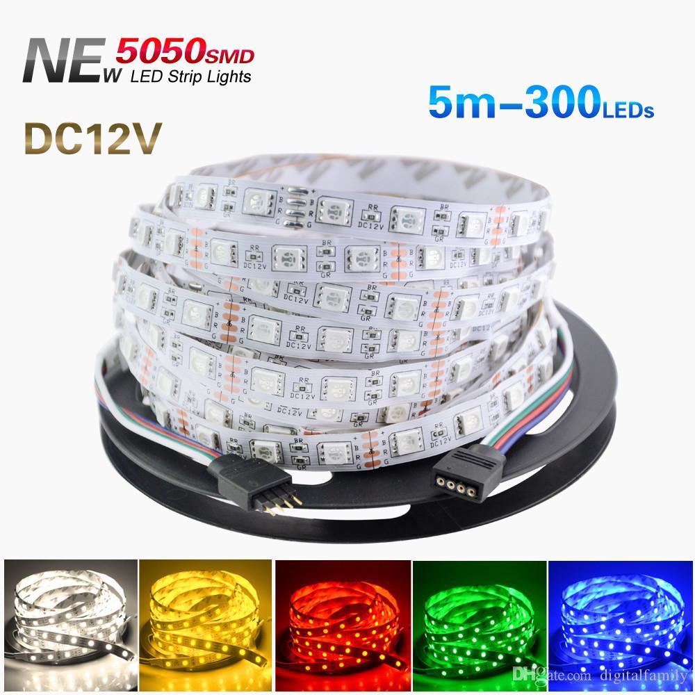 5M 5050 SMD RGB LED Strip Flexibele 16ft 5M 300 LED's Multi Color Niet-Waterdichte LED Strip Light High Power 72W Kerstmis Halloween-feest
