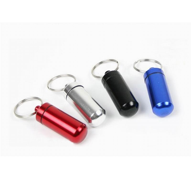 Garrafas de Armazenamento de Essentials de Viagem Micro Cache de Metal Contêiner Chaveiro Titular