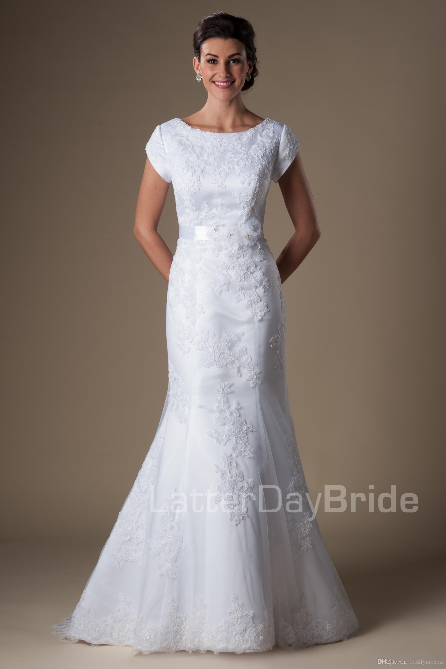 2016 Mermaid Modest Wedding Dresses With Sleeves Vintage Lace ...