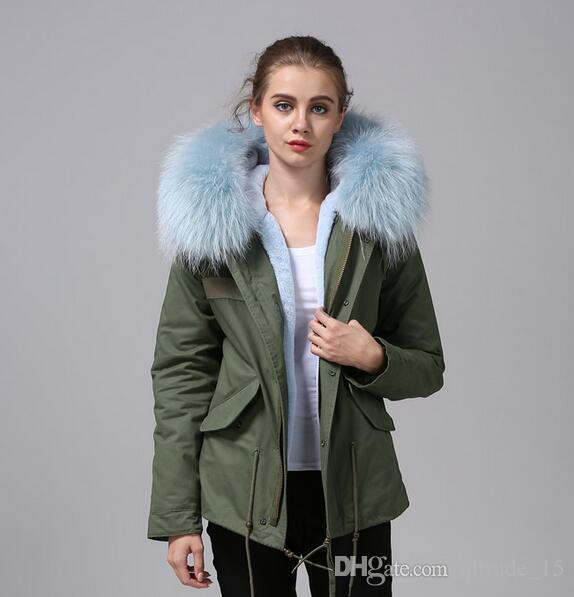 2018 Women Winter Coats Light Blue Fur Mr Mrs Itlay Rabbit Fur ...