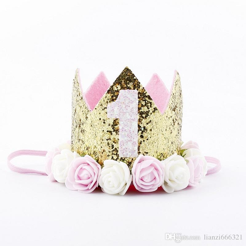 Hot New Gold Baby 1-9st Birthday Sparkly Party Crown Artificial Pink and Creamy White Rose Flowers Tiara Headband HJ152