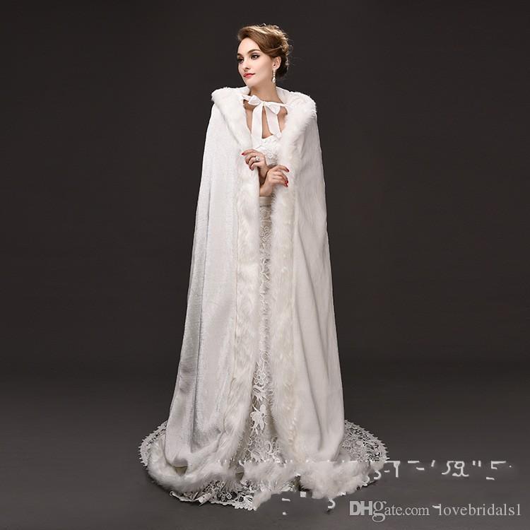 2017 Newest Ecru White Long Hooded Fuel Warmest Cloak Coat Bride