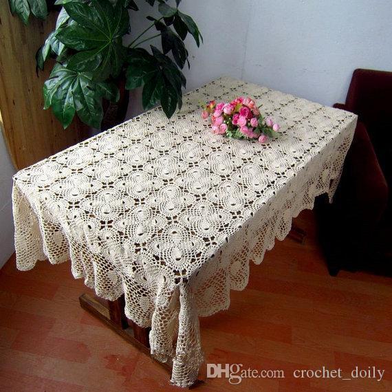 nuovo arriva copertura di tabella handmade calda 100%, crochet pattern tavolo Bowknot coprimaterasso rettangolare, oblunga crochet tovaglia