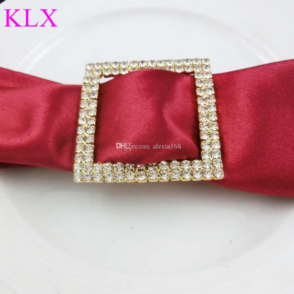 Wholesale Gold Plating Square Two Rows Rhinestone Napkin Ring For Wedding Table Decoration ,Pre -Order