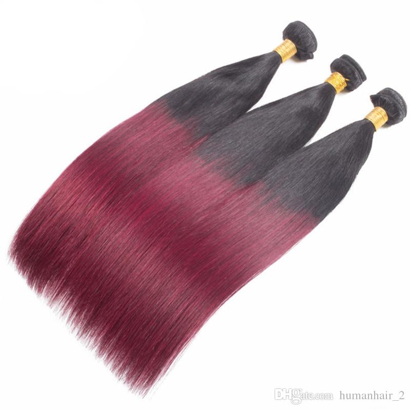1B 99J Ombre Burgundy Hair Extensions Indian Hair Bundles Silk Straight Color Wine Red Indian Human Hair Dark Root 99j Bundles