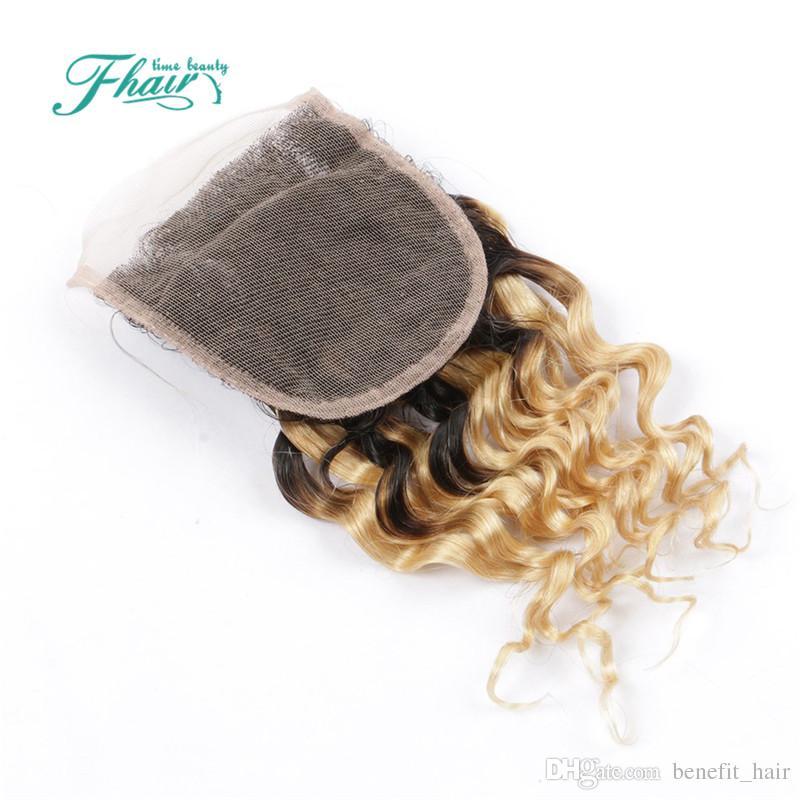 8A Indian Deep Curly 1B 613 pelo rubio con cierre 3 paquetes con 4 * 4 cierre de encaje Dark Roots Omber cabello humano con cierre