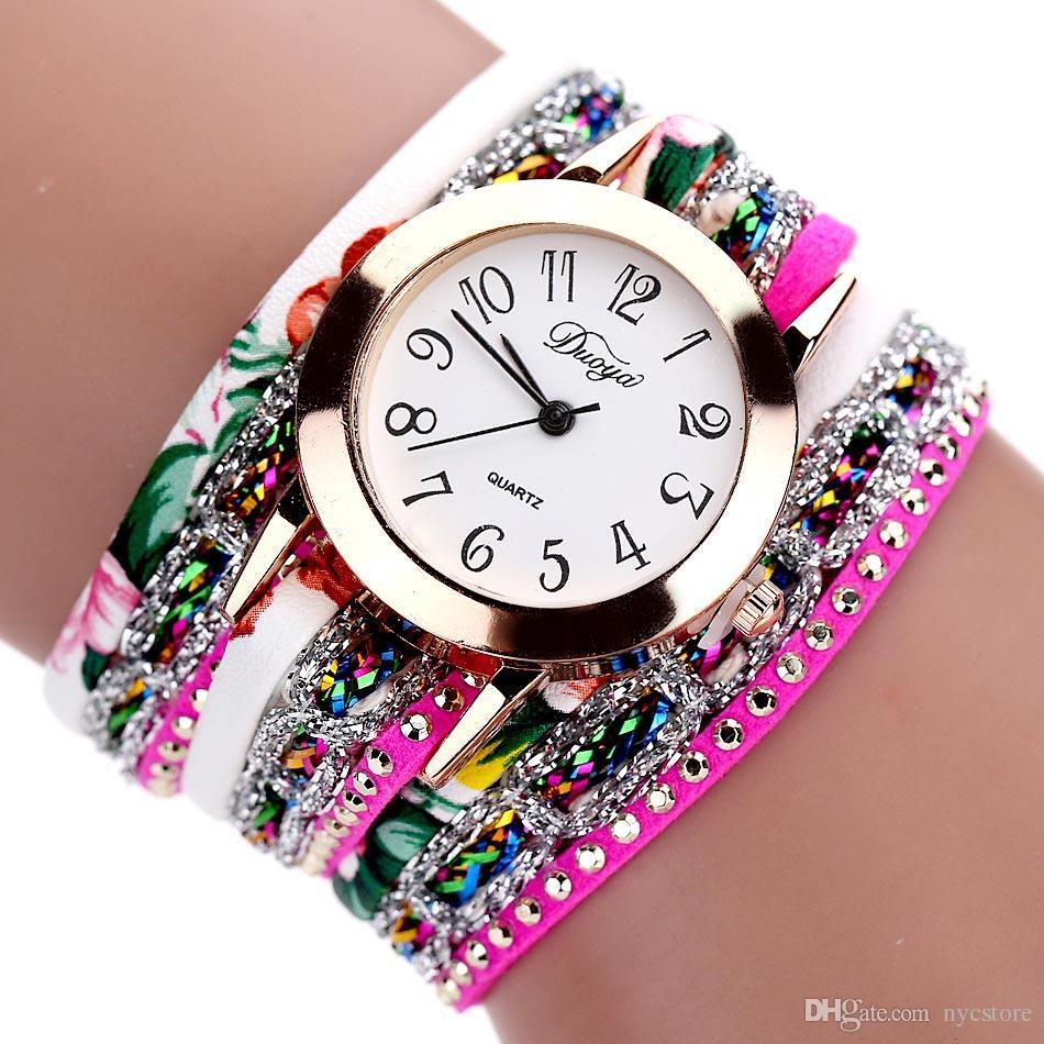 Weave Braided Winding Wrap Around Leather Bracelet Wrist Watches Women's Fashion Luxury Jewelery Crystal Inlaid Quartz Clock Feminino