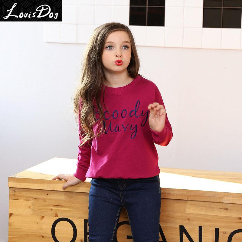 7ddcedfea35 Wholesale LouisDog Girls Sweatshirt Top 100% Cotton Girls Clothes Teenagers  Embroidered O Neck Pullover Sweatshirts For Spring Autumn Canada 2019 From  ...