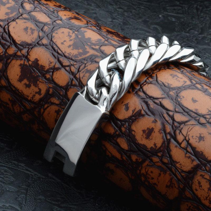 Hommes exagérés Twisted Pulseras Titane Acier Bracelets Bracelets Bracelet Hommes Bijoux Punk Brace dentelle Haut Argent Poli