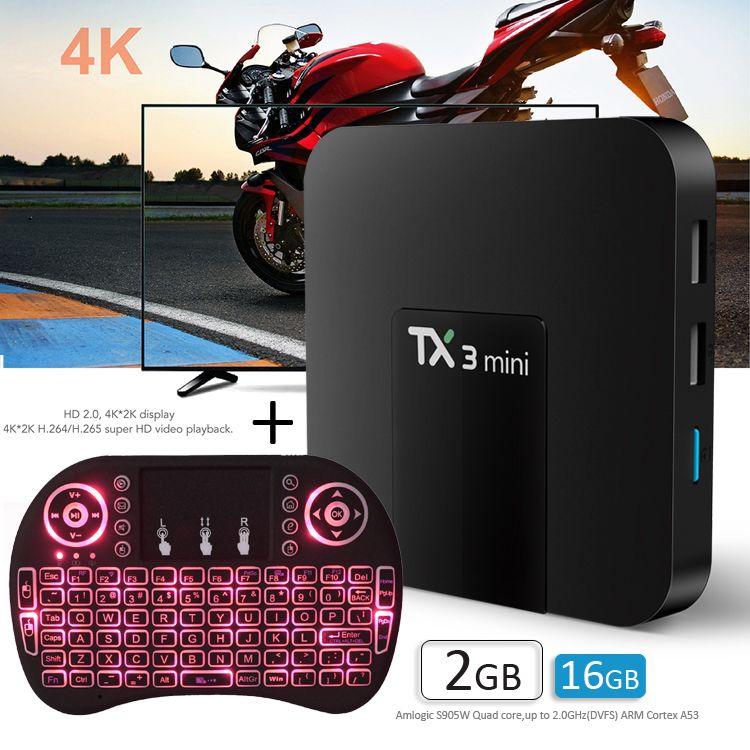 TX3 mini S905W TV KUTUSU 2 GB 16 GB i8 Blacklit Fly Air Fare ile Android 7.1 İnternet Medya Oynatıcı