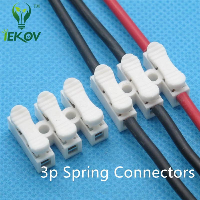 Hiçbir kaynak ile 100 adet 3 p Yaylı Konnektör tel hiçbir vidalar Hızlı Connectos kablo kelepçesi Terminal Bloğu 3 Yollu Led şerit için Kolay Fit