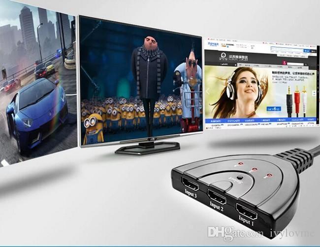 جودة عالية! HDMI الفاصل 0.5m 3 HDMI المدخلات إلى 1 HDMI الناتج تبديل السيارات كابل V1.4B HDMI الجلاد الفاصل الحرة DHL