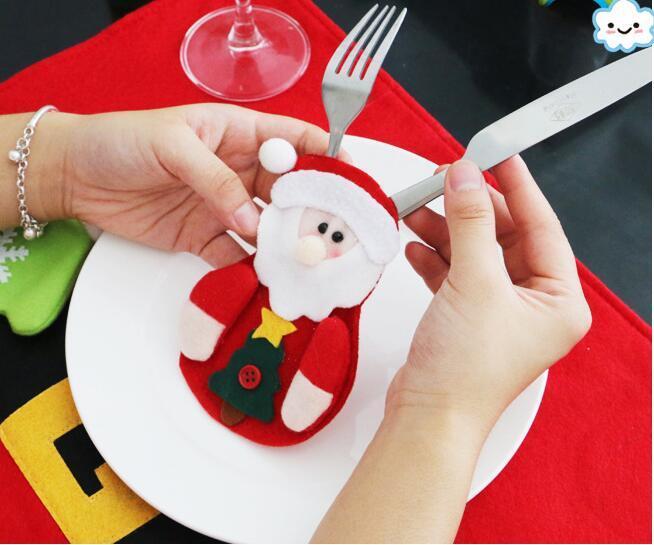 Weihnachten Santa Claus Schneemann Elch Messer Gabel Tasche Geschirr Abendessen Besteck Dekor