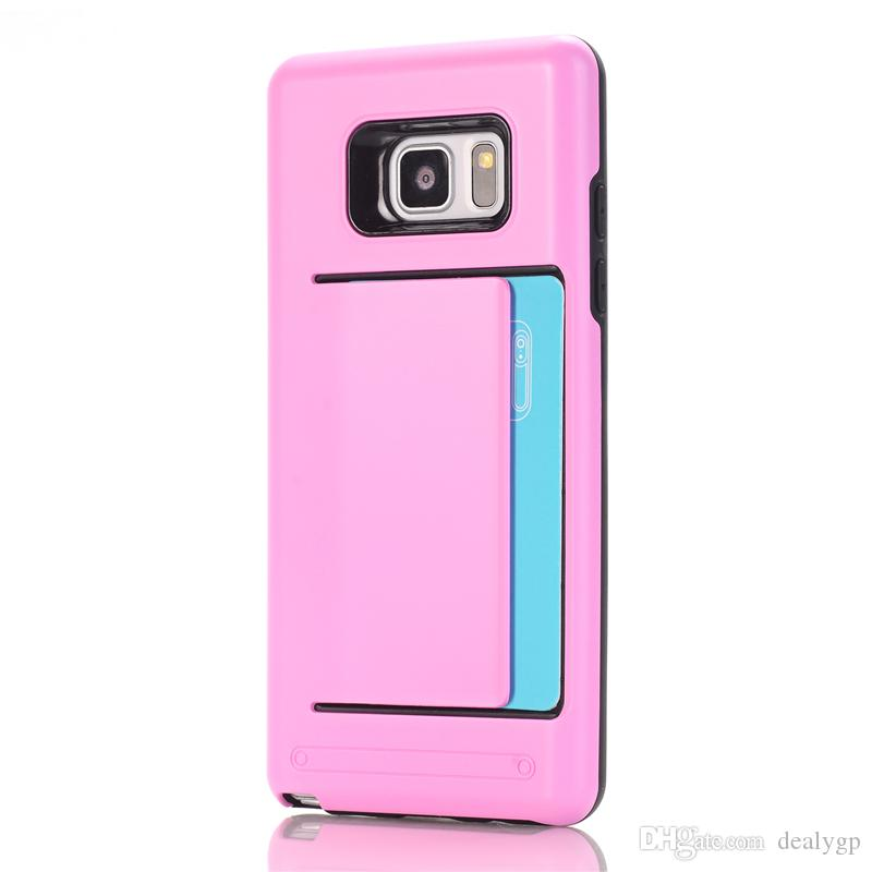 TPU Slide Credit Card Holder Wallet Mobile Phone Case Cover With Slot For Samsung Galaxy S3 S4 S5 S6 S6 edge