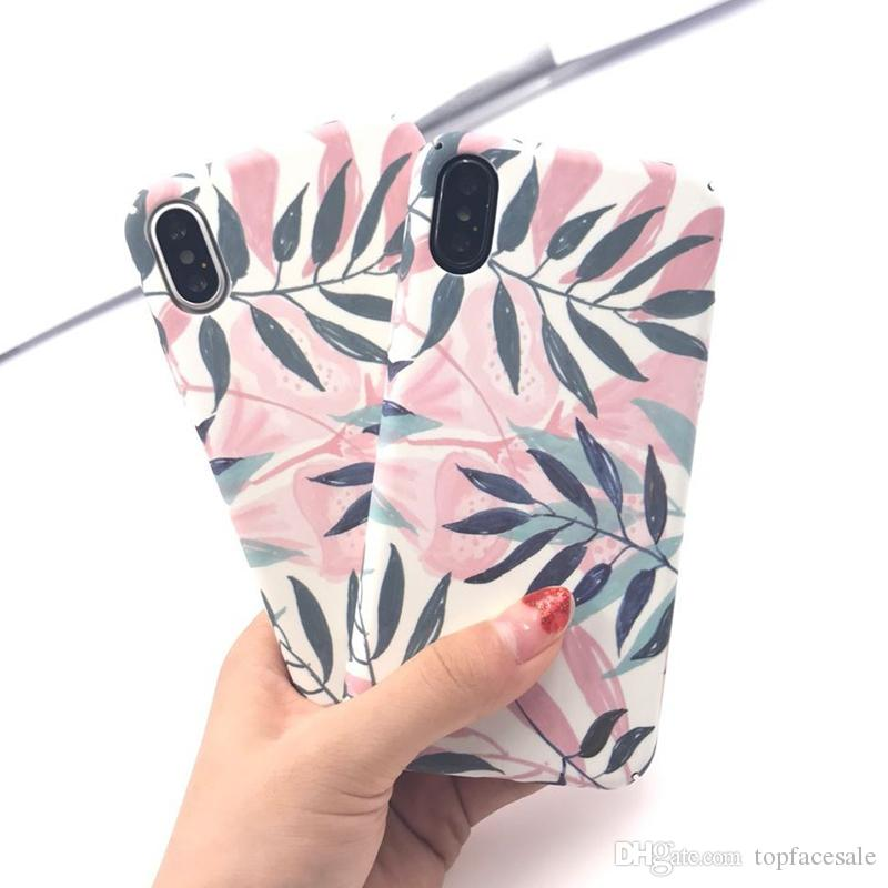 Diforate Fashion Artistic Leaf Phone Case For iPhone X Frosted Hard Phone Bags For iPhone X Back Cover