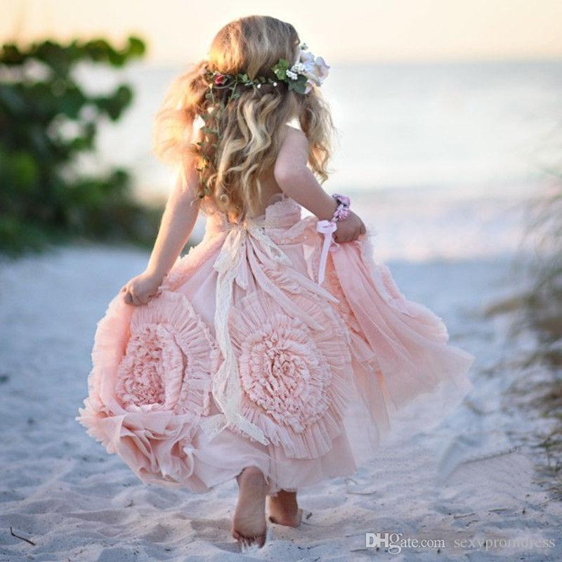 Pink Halter Little Girls Party Dresses 2016 Chiffon Ruffles Flower Girl Dresses For Beach Wedding Floor Length Pageant Gowns With Flowers