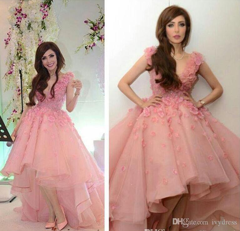 Pink Prom Dress Short Front Long Back Tulle Flowers V Neck Cocktail ...