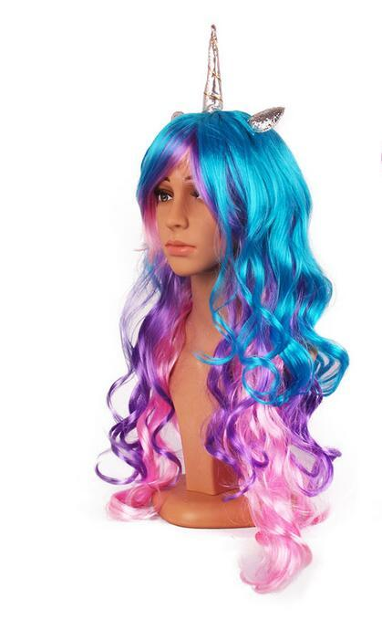 20pcs DHL Rainbow Dash Cosplay Colorful Synthetic Hair Party Hats New Unicorn Cosplay Wig With Headband 5Styles