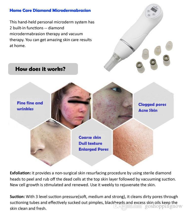 herramienta de eliminación de removedores de espinillas Microdermabrasión Mini Diamante Dermoabrasión Terapia Facial Dispositivo de cuidado de la piel Anti envejecimiento Rejuvenecimiento