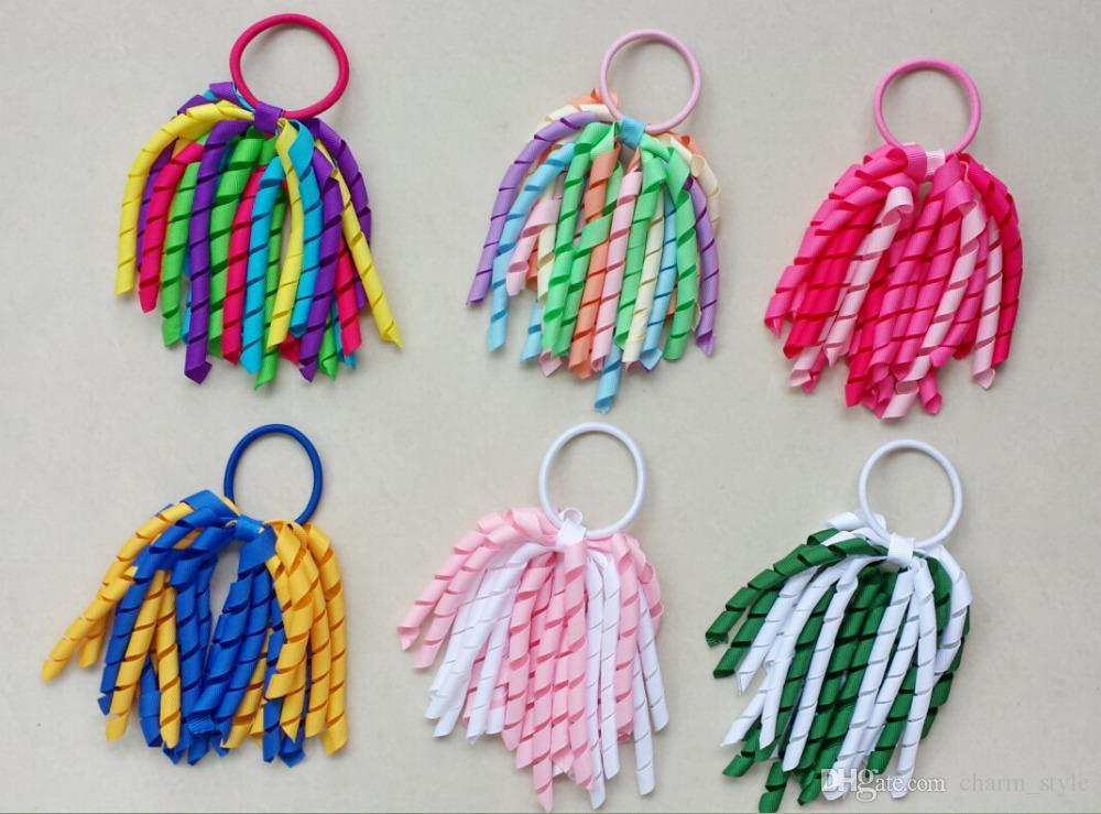 Chica O A-korker Cola de caballo varias cintas del korker del color del pelo con serpentinas arcos corker elástica cinta rizada pinza de pelo
