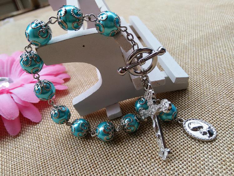 2016 Новой мода католических ювелирные изделий 10 мм Бусина стекло Розарий крест браслет с чашкой горячей оптовым