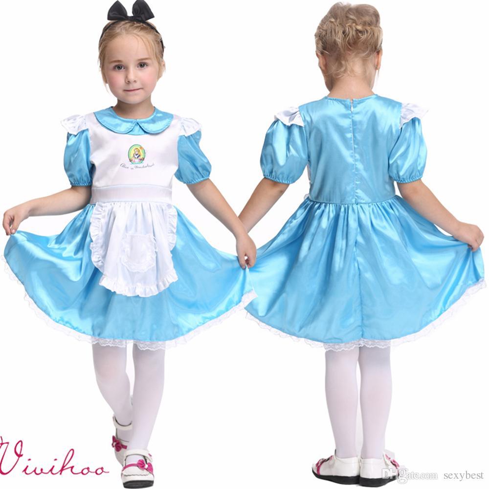 2017 Kids Halloween Little Alice Fancy Dress Girls Maid ...