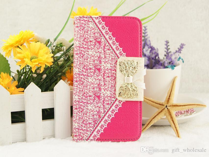 Luxury Wallet Card Holder Strap Lace Bow Synthetic Leather filp Case Cover for Samsung Galaxy S3 S4 S5 S6