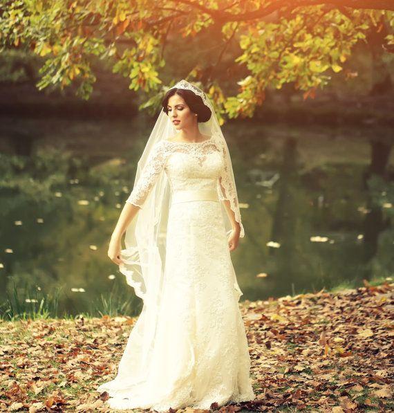 2016 New Top Quality Best Sale Fingertip White Ivory Lace Applique veil Bridal Head Pieces For Wedding Dresses