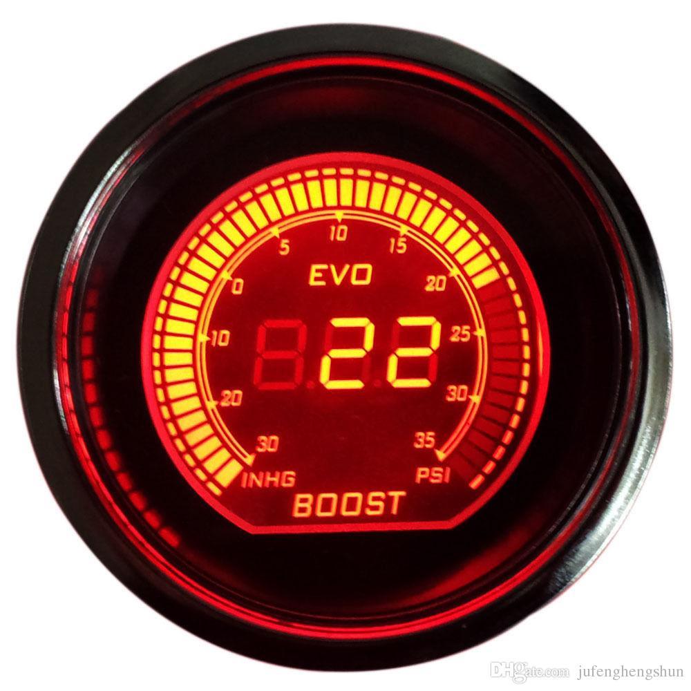 Hot 2 inch 52mm Turbo Boost Vacuum Gauge Psi 12V Car Blue Red LED Light Tint Lens LCD Screen Auto Digital Meter instrument Universal