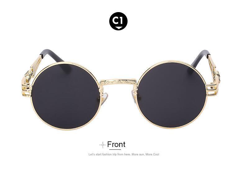 Maria-boucles d'oreilles Steampunk Lunettes De Soleil Hommes Femmes Métal WrapEyeglasses Round Shades Marque Designer lunettes de Soleil Miroir Haute Qualité