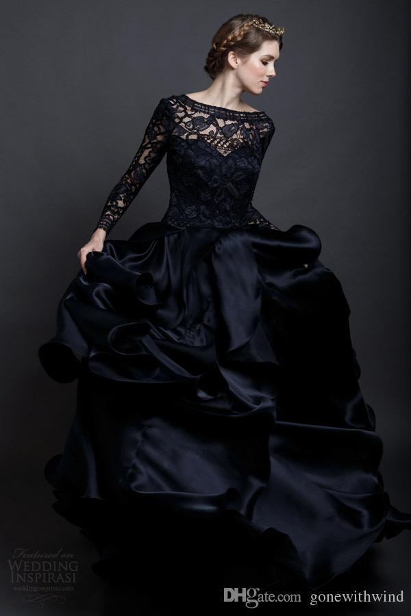 Großhandel Schwarzes Langes Sleeved Hochzeitskleid 2017 Ballkleid ...