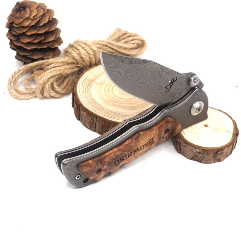 Brązowy nóż Tactical Survival Nóż Składany Ostrze Hartowane 440C 56HRC Kieszonkowe Noże Drewno Rękojeść Outdoor EDC Narzędzia
