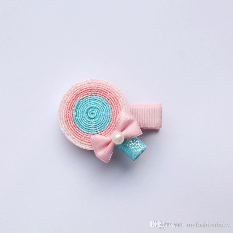Yeni Glitter Sugar Loaf Şekli Sevimli Lollipop Tokalar Blilnk Yuvarlak Çocuk Barretts Oturum Kızlar Saç Klipler Güzel Renkleri Tokalarım