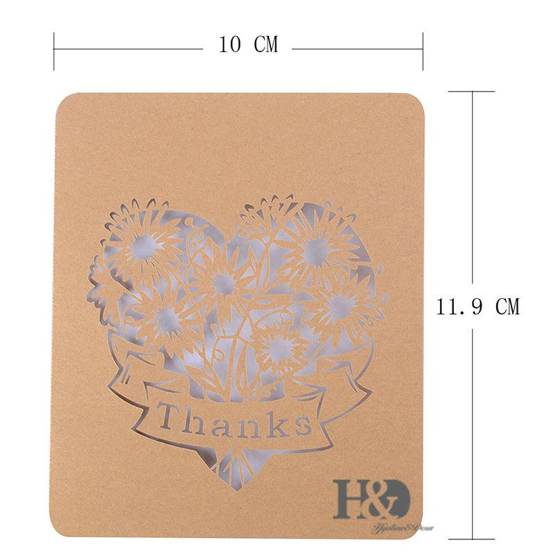 cut out heart thank you cards folded note card greeting card wedding