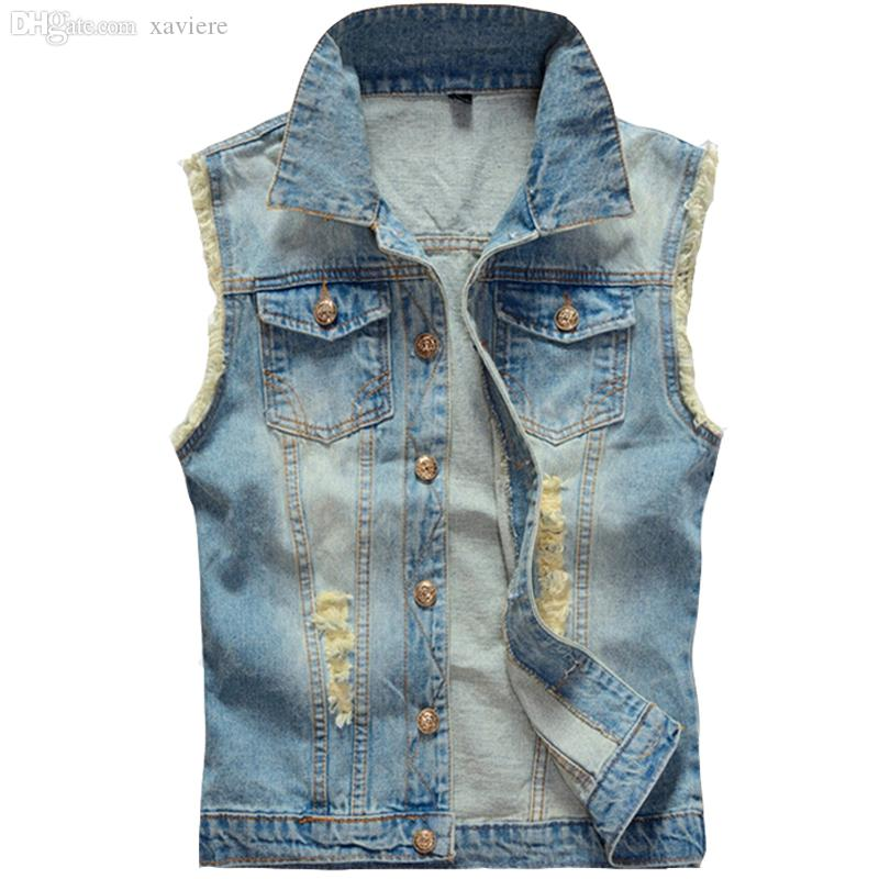 184fb6008d854 Fall Big Size Ripped Vintage Cowboy Waistcoat Washed Male Jean Vest Mens  Sleeveless Denim Jacket Plus Size 5XL 6XL Light Blue Jackets For Mens  Designer ...