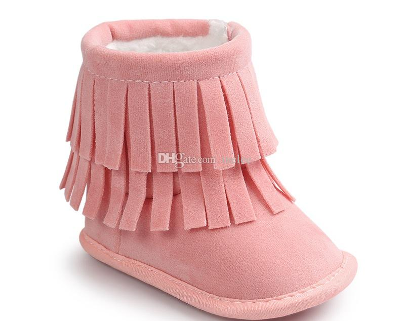 2017 Fashion Baby 2Layer Fringe Style Boots Dark Long Tassel Design Baby Shoes Soft Sole Non-slip Infant Toddles Winter Snow Boots