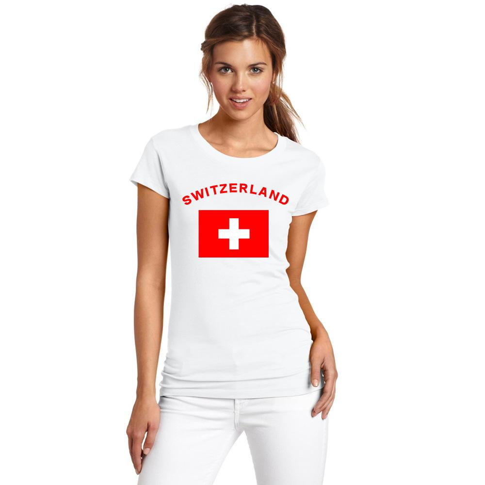2016 الصيف الأوروبي كأس سويسرا المشجعين يهتف القمصان 100٪ ٪ كرة رياضة اللياقة البدنية الصالة الرياضية العلم الوطني القمصان للنساء