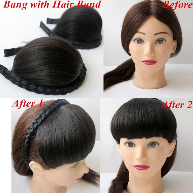 Hair Bangs Hair Fringe With Hair Band Synthetic Hair Darkest Brown