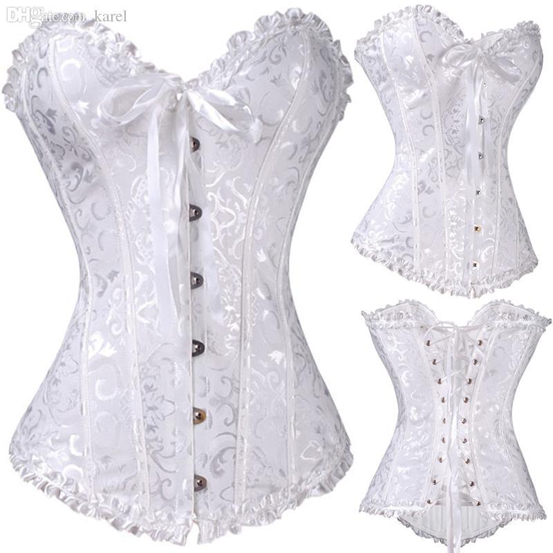de08b932fc 2019 Wholesale All Year NEW Bustier Corset White Plus Size Fashion  Sleepwear Sexy Women Lace Tops Steel Bustier Lingerie Wedding Corset Dress  From Karel