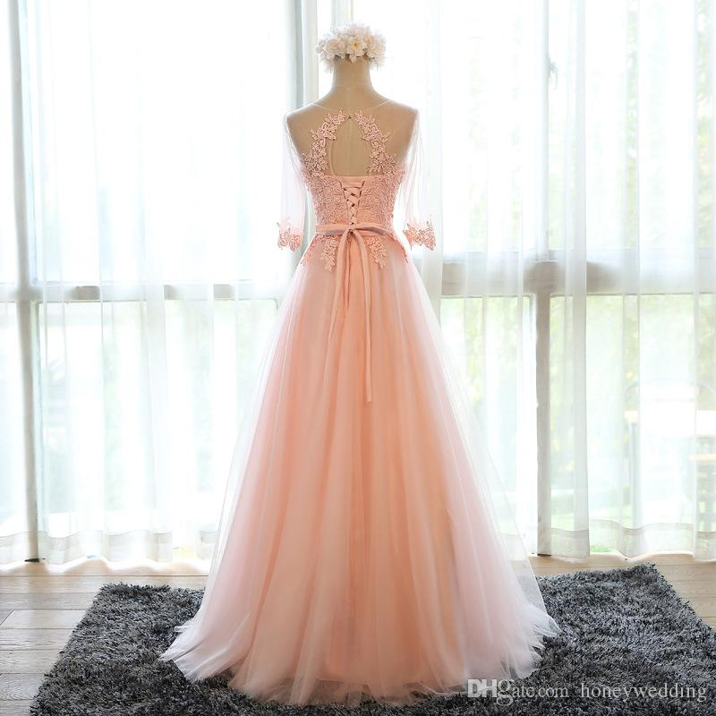 Real Photo Long Prom Dresses 2016 3/4 Sleeves Lace Appliques Draped Tulle Formal Evening Gowns Cheap In Stock