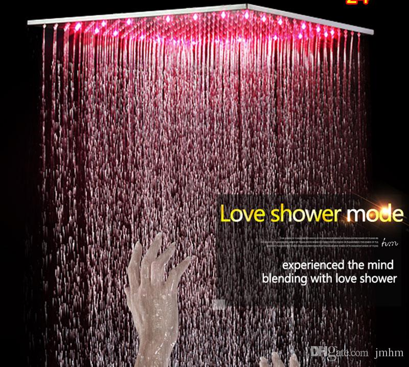 24 Inches Ceiling Rain Shower Set,LED Shower Head With Shower Jets,Thermostatic Mixer,Change Bathroom Bath Faucet Set