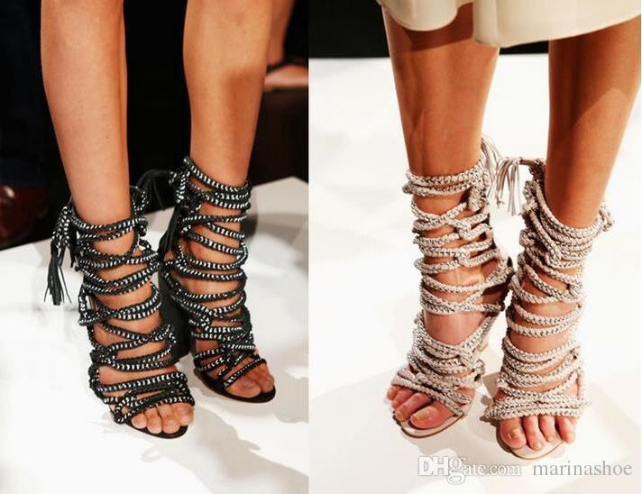 Hot Sale Sandalias Femininas Stilettos Chains Lace Up