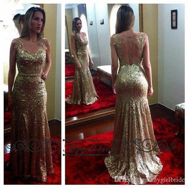 2016 Elegant Gold Sequin Cheap Long Evening Dresses Sheer Back ...