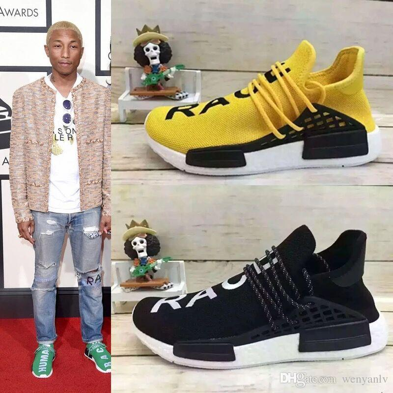 f4513bfbf5d75 2019 Classic HUMAN RACE  Black White  Mens Running Shoes Pharrell Williams  Runner Sneakers Grass Green Size 36 46 From Wenyanlv