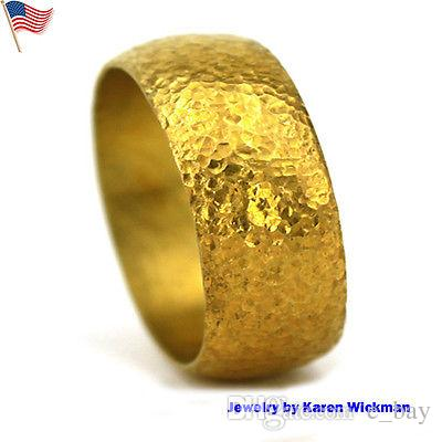 Heavy Hand Forged Ring Solid 24k Gold Colourful Bangles Designer