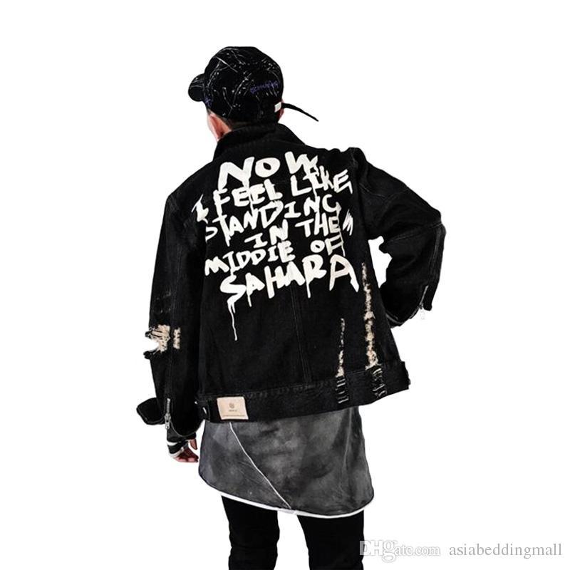 Compre Chaquetas De Los Hombres 2018 Otoño Hombres Graffiti Chaquetas De  Mezclilla Hip Hop Punk Juventud Hombre Vintage Frayed Hole Negro  Cremalleras De La ... 1c139f449a8