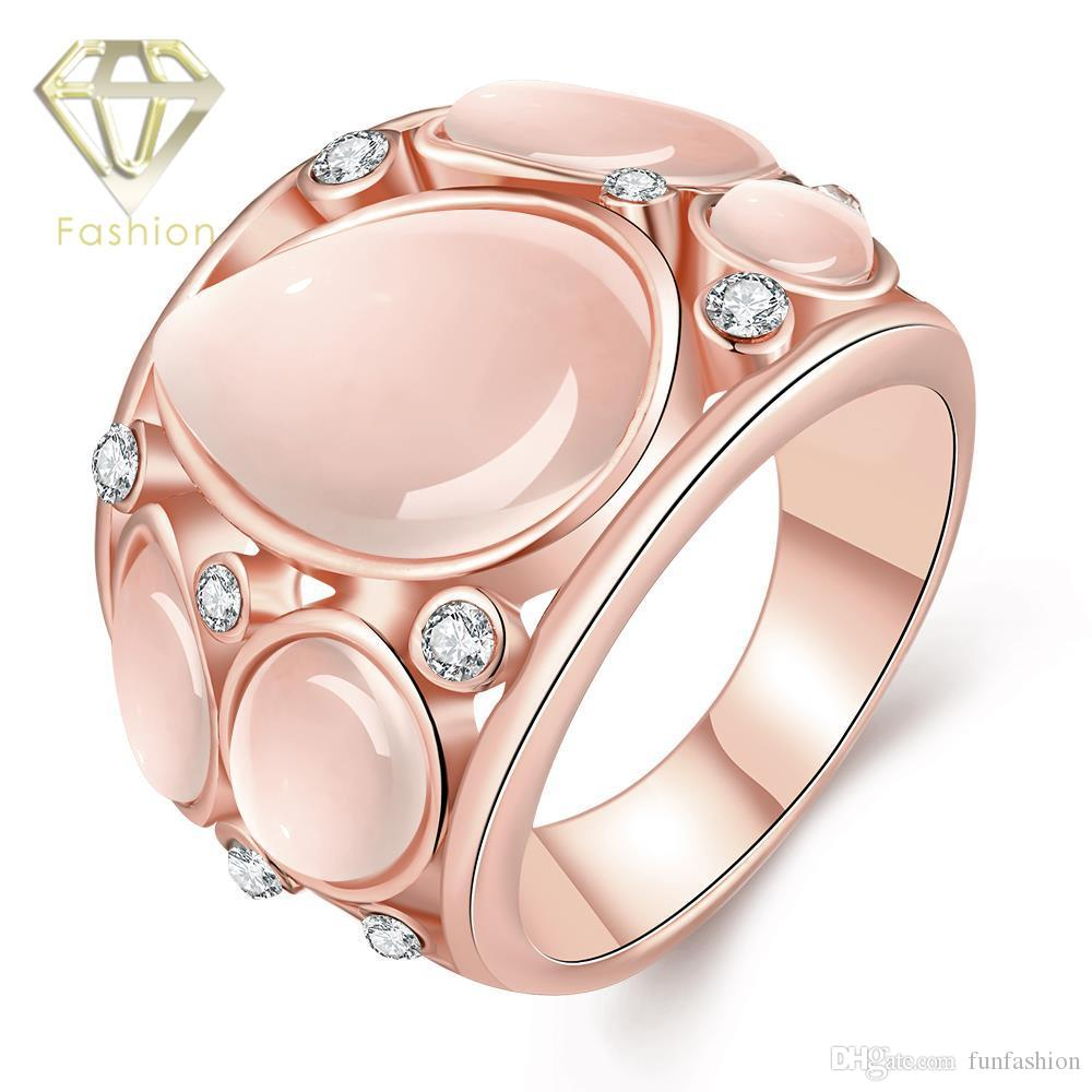 2018 Cheap 18k/Rose Gold Plated Wedding Rings Cute Design With Multi ...