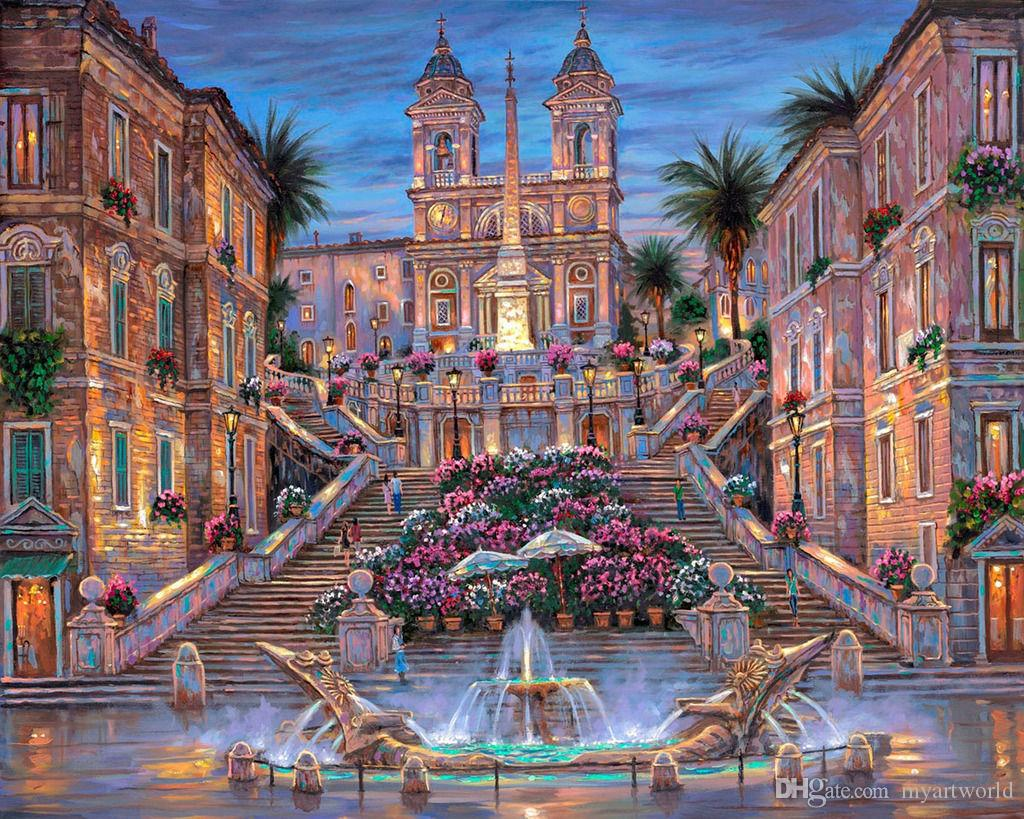2018 the spanish steps hd art print original oil painting. Black Bedroom Furniture Sets. Home Design Ideas